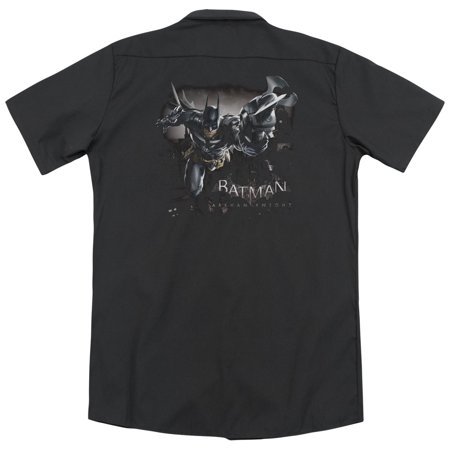 Batman Arkham Knight Grapple (Back Print) Mens Work Shirt Iron Works T-shirt