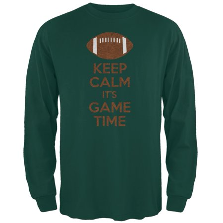 - Keep Calm Game Time Football Forest Green Adult Long Sleeve T-Shirt