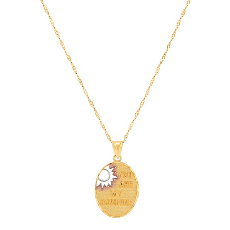 "Sterling Silver and 18K Gold-Plated Oval ""You are my Sunshine"" Pendant, 18"" Necklace"