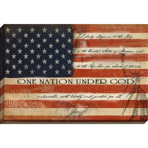 Carpentree One Nation Under God Flag Giclee Graphic Art on Wrapped Canvas
