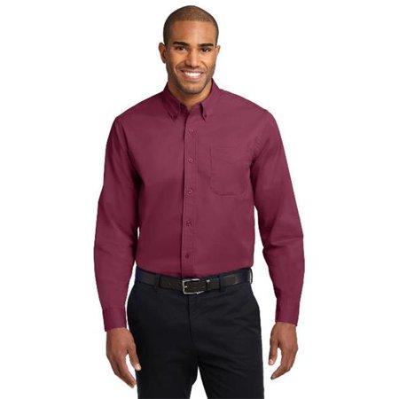 Port Authority S608ES Mens Extended Size Long Sleeve Easy Care Shirt, Burgundy & Light Stone - 8XL - image 1 de 1