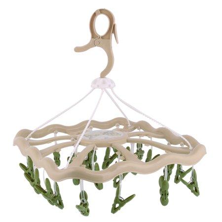 Household Plastic Rectangle Shaped Swivel Hook 24 Clips Rack Clothes Hanger - image 2 de 2