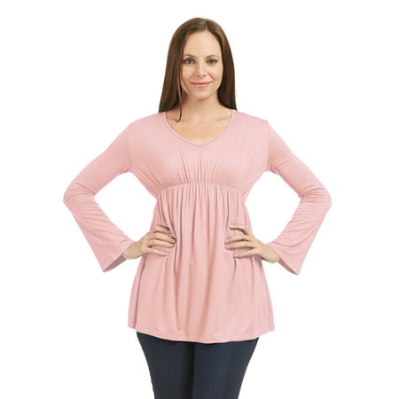 WT1477 Womens V Neck Long Sleeve Empire Waist Tunic Top S Pink - Empire Waist Sweater