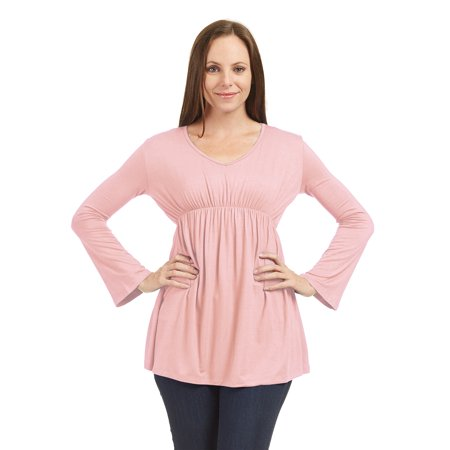 WT1477 Womens V Neck Long Sleeve Empire Waist Tunic Top S Pink