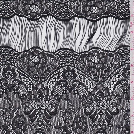 Floral Scallop - Black Floral Scallop Lace, Fabric By the Yard