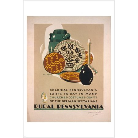 Rural Pennsylvania Vintage Travel Poster K Milhous 24X36 Pottery Jars