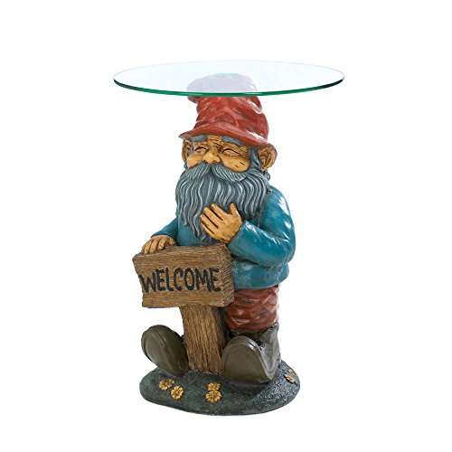 Awesome Garden Gnome Glass Accent Table