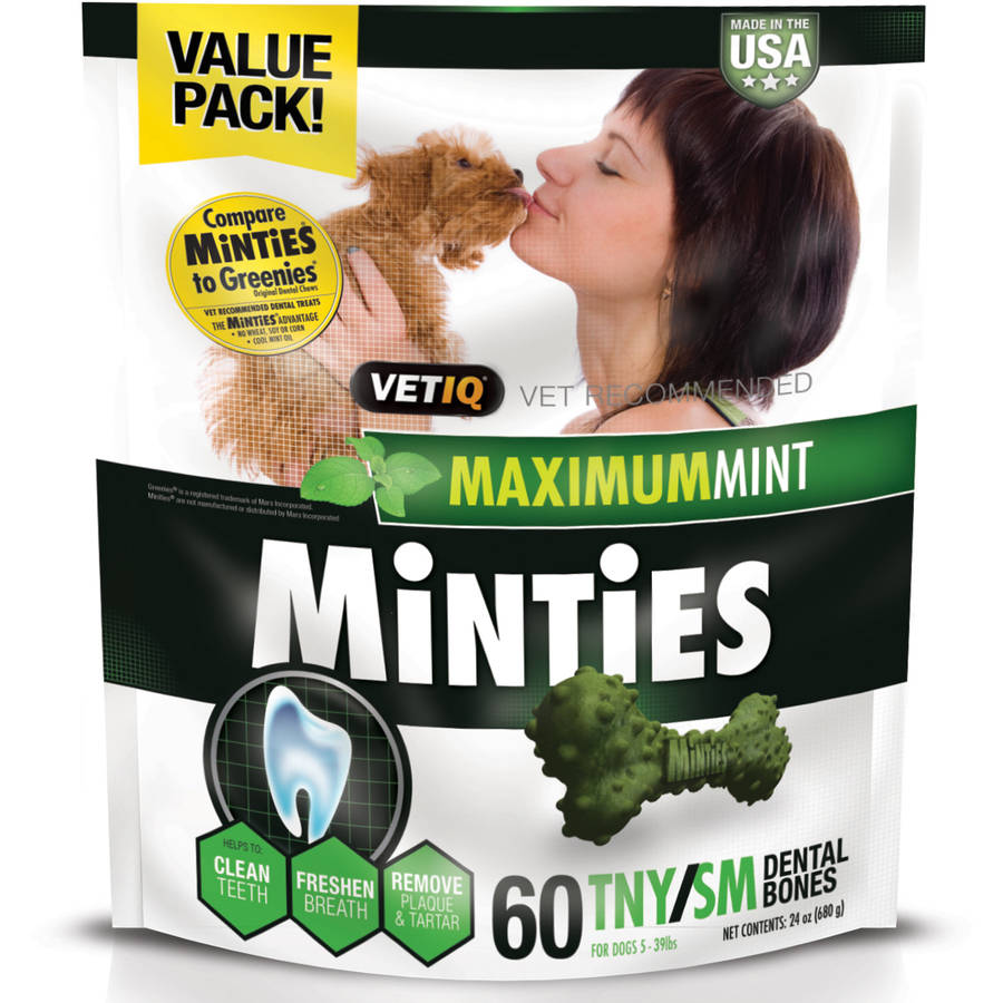 Minties Teeth Cleaner Dental Dog Treats Tiny/Small, 60 count