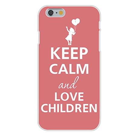 Apple iPhone 6+ (Plus) Custom Case White Plastic Snap On - Keep Calm and Love Children Girl w/ Balloon (Love Kiss Snap)