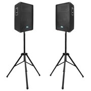 "Seismic Audio Pair of 15"" PA DJ PRO AUDIO Speakers w/ 2 Tripod Stands - SA-15TPKG1"