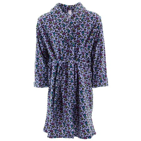 Inteco Women's Lavender Colorful Leopard Fleece Bathrobe