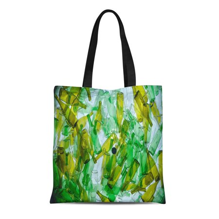 KDAGR Canvas Tote Bag Green Recycle Recycling Glass Colorful Bottle Waste Color Garbage Durable Reusable Shopping Shoulder Grocery Bag