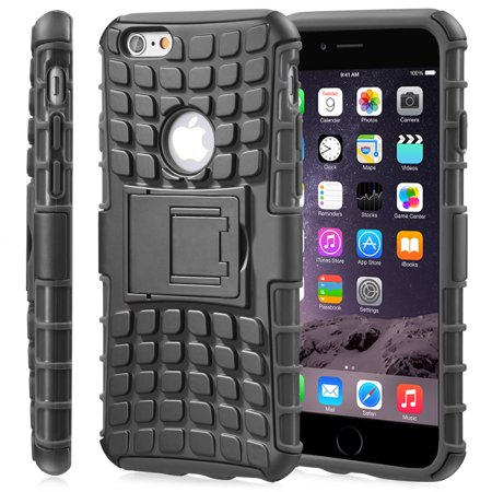 Fosmon HYBO-RAGGED Hybrid TPU + PC Case Cover for Apple iPhone 6 Plus/6s Plus - Black (TPU) / Black (PC) - image 1 of 1