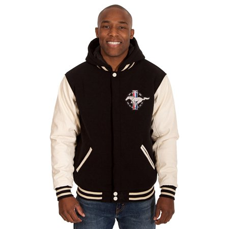 - Mens Ford Mustang Reversible Fleece Hooded Jacket w/PU Sleeves Embroidered Logos