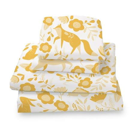 Marigold Yellow Folktale Forest Animals Queen Size Sheet Set Soft