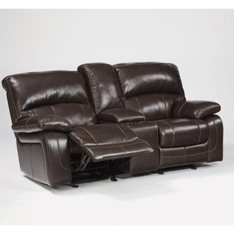 Ashley Furniture Damacio Leather Power Reclining Loveseat in Brown & Ashley Furniture Damacio Leather Power Reclining Loveseat in Brown ... islam-shia.org