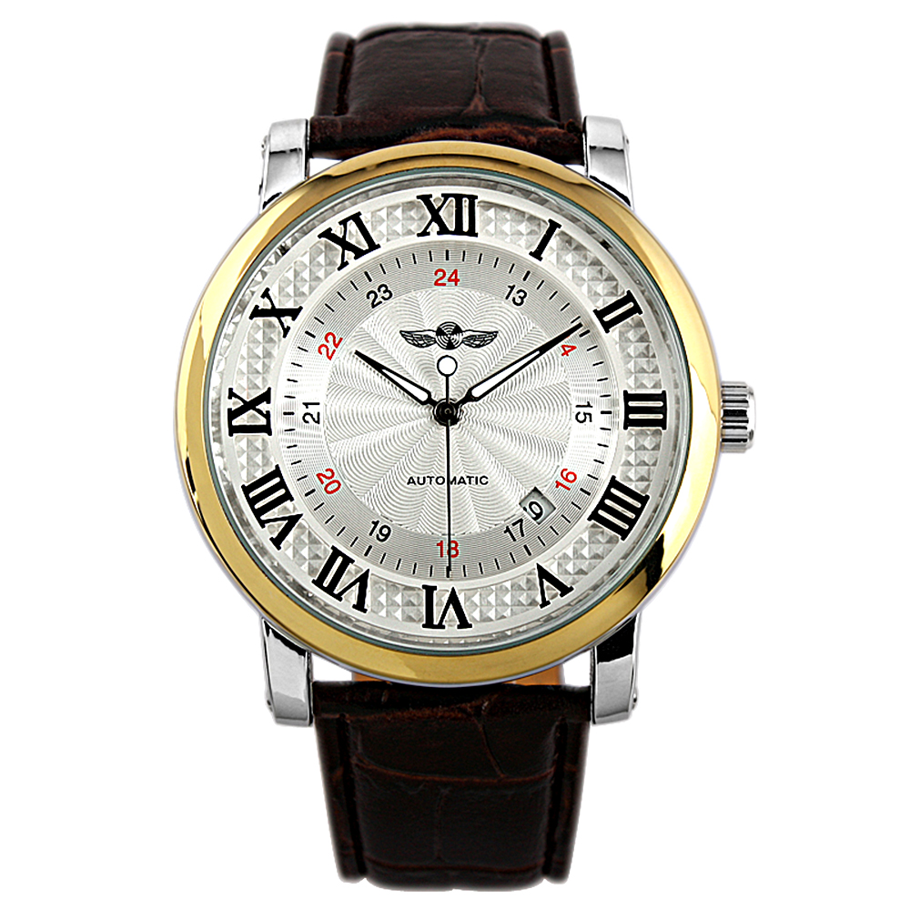Man Roman Numerals Automatic Mechanical Mens Watch Brown Leather Gold 24hrs