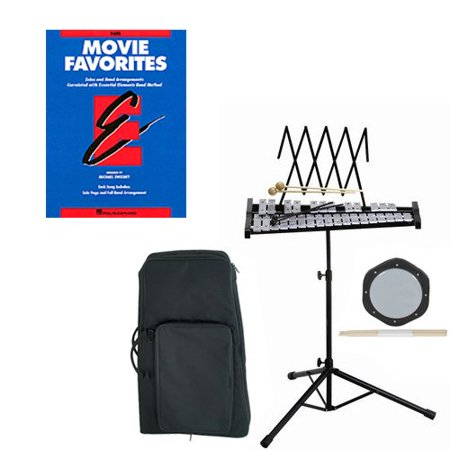 (Band Directors Choice Educational Bell Kit Pack Movie Favorites Deluxe w/Carry Bag, Drum Practice Pad & Sticks & Movie Favorites Band Folios Book)