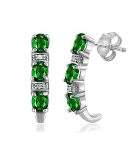 1 Carat T.G.W. Chrome Diopside and White Diamond Accent Sterling Silver J Hoop Earrings