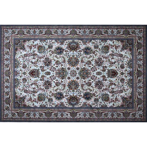 Astoria Grand Mingo Hand Look Persian Wool Blue/Ivory/Brown Area Rug