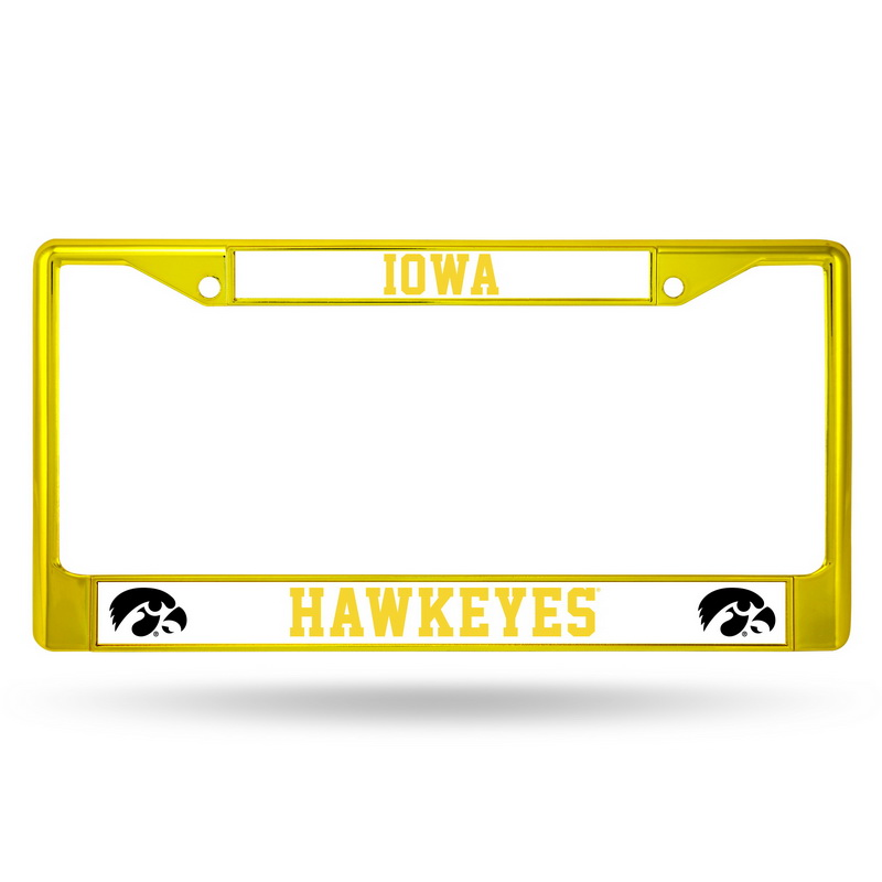 Iowa Hawkeyes Metal License Plate Frame - Yellow