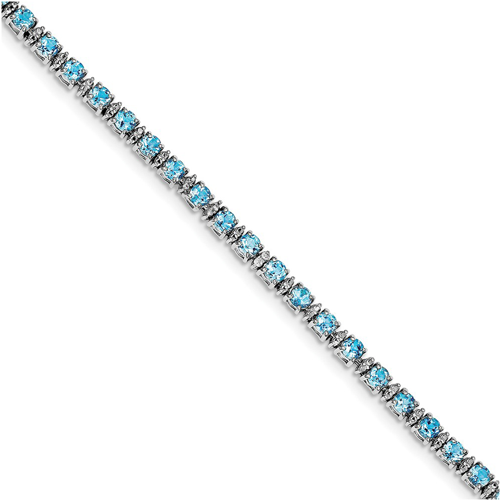 Sterling Silver Blue Topaz and Diamond Bracelet QX853BT by