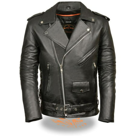 Classic Side Lace Motorcycle Jacket - Milwaukee Mens Classic Side Lace Police M/C Jacket - Tall Black