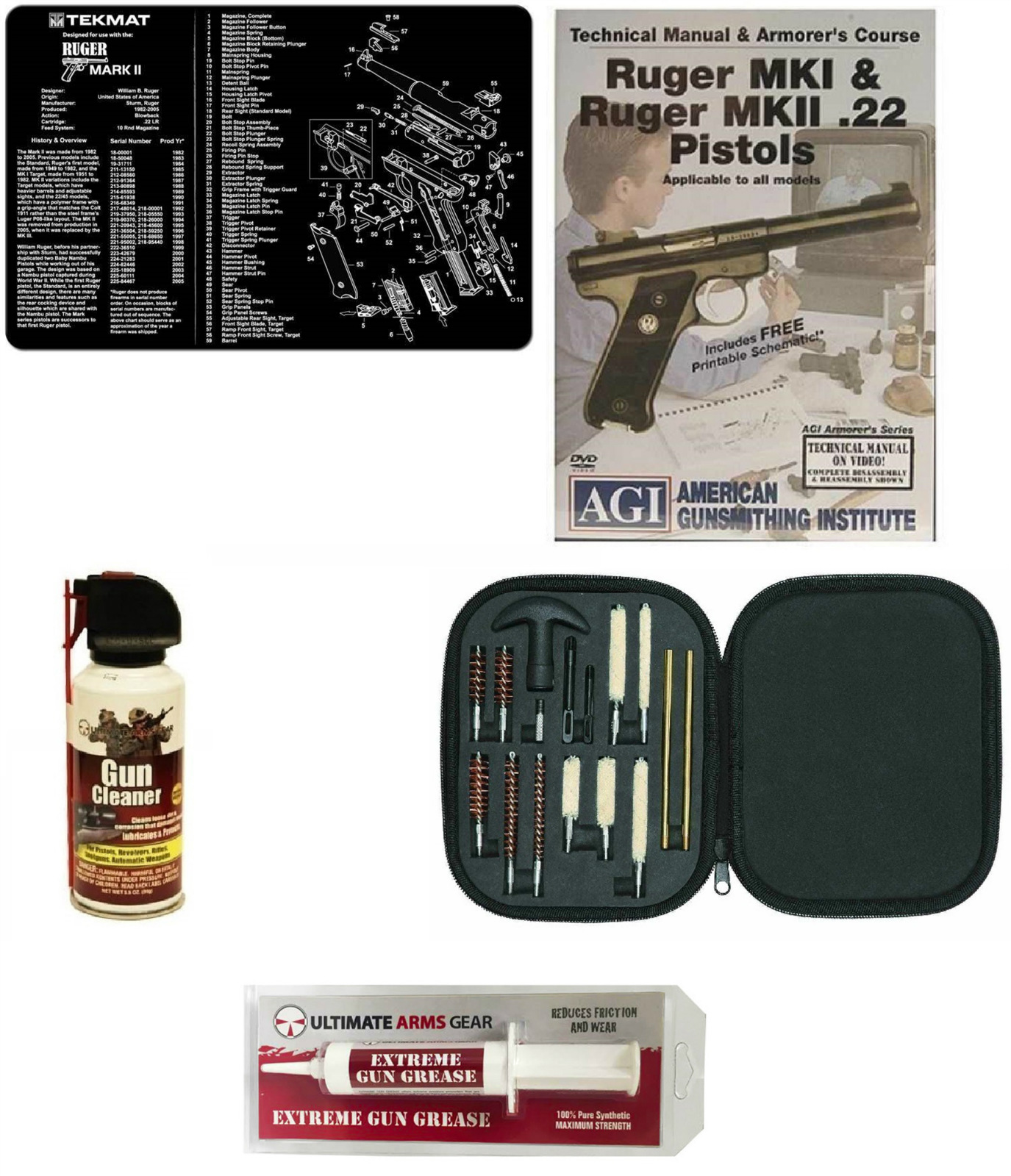 Gunsmith Cleaning Gun Mat Ruger MK II Mark II 2 + Pro Cleaning Supplies Kit  17 pc Cleaning Kit Brushes, Swab, Slotted Tips + AGI DVD Pistols Armorer's