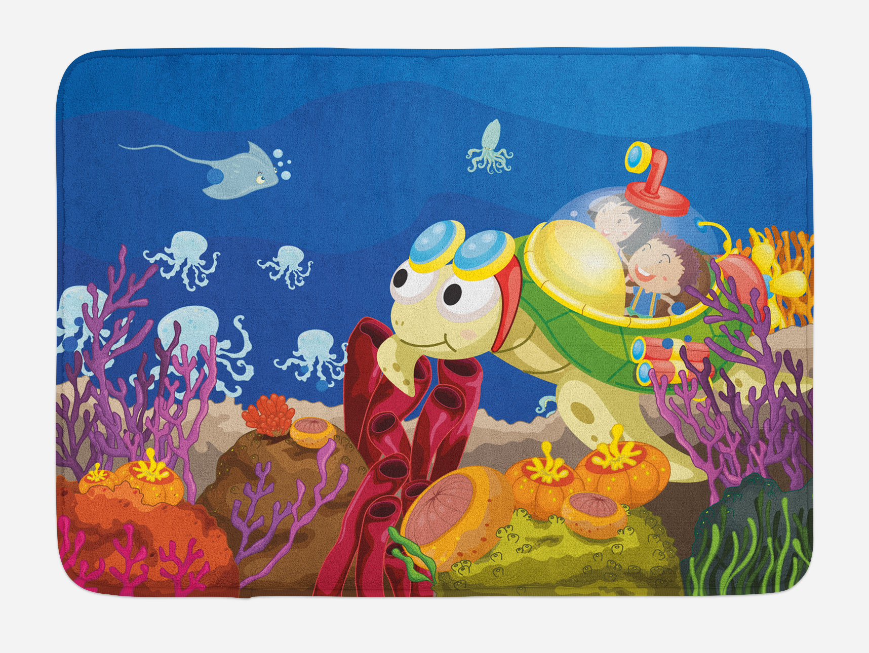 Turtle Bath Mat, Funny Cartoon Character Carrying Kids Underwater Coral Reef Octopus... by 3decor llc