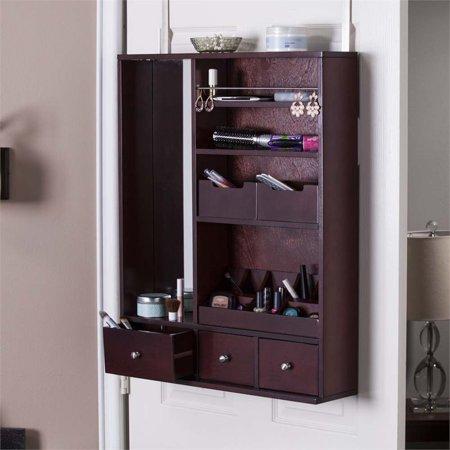 southern enterprises jazmin over the door makeup mirror organizer. Black Bedroom Furniture Sets. Home Design Ideas
