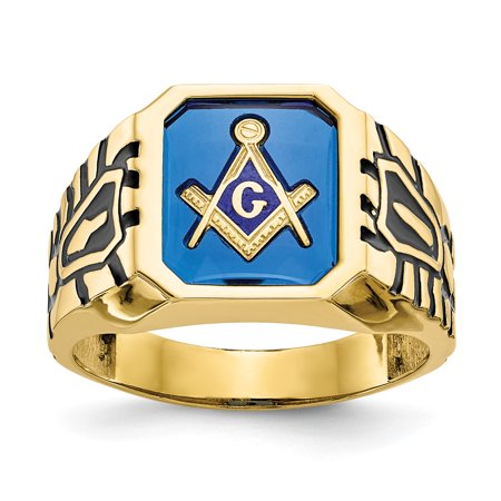 Solid 10k Yellow Gold Blue Acrylic Men's Simulated Masonic Ring (13mm) - Size 8
