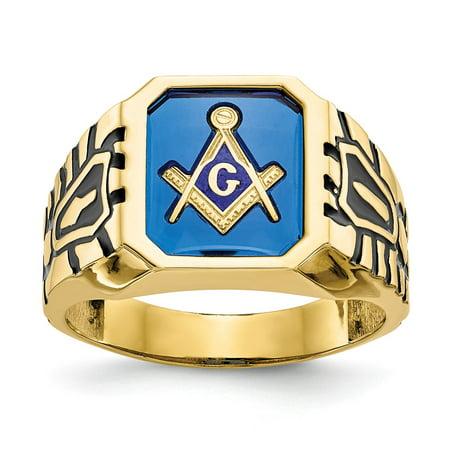 Men's 10k Yellow Gold Blue Acrylic Masonic Cocktail Ring