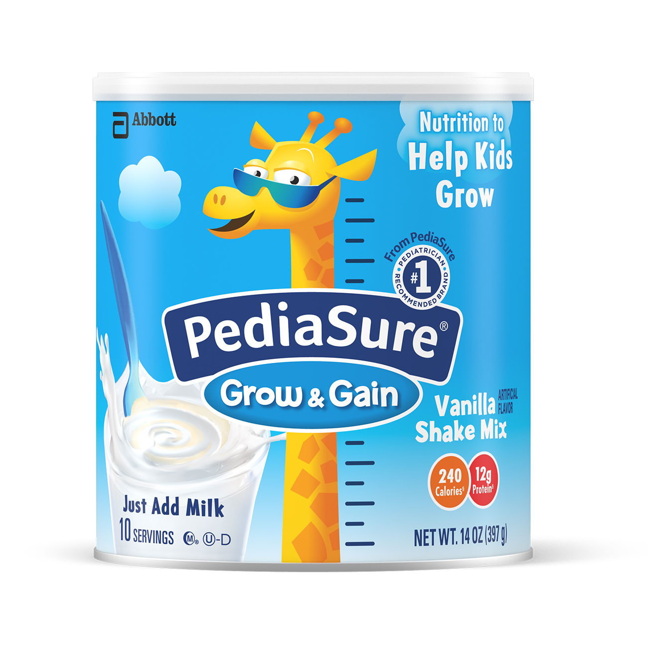 PediaSure Grow & Gain Vanilla Shake Mix, Nutrition Shake For Kids, 14 oz