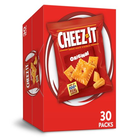 Cheez-It Original Baked Cheese Crackers - Single Serve 1 Oz Bags (30 Count) Low Carb Cheese Crackers