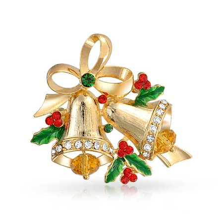 Large Holiday Decorated Christmas Bells Holly Brooch Pin Red Green Crystal Gold Plated (Gold Plated Flower Brooch Pin)