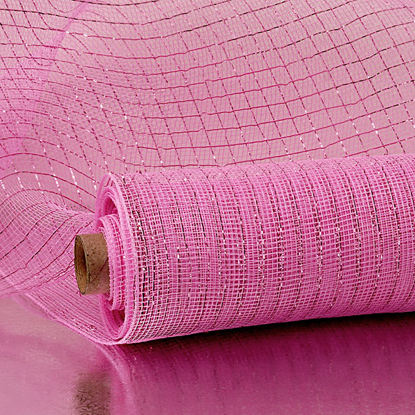 "21"" X 10 Yards Bubblegum Pink Deco Mesh W/Mtllc Stripe by Paper Mart"