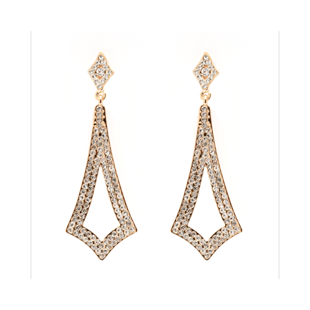 18K Gold Plated Gold And Swarovski Elements Drop Earrings   White