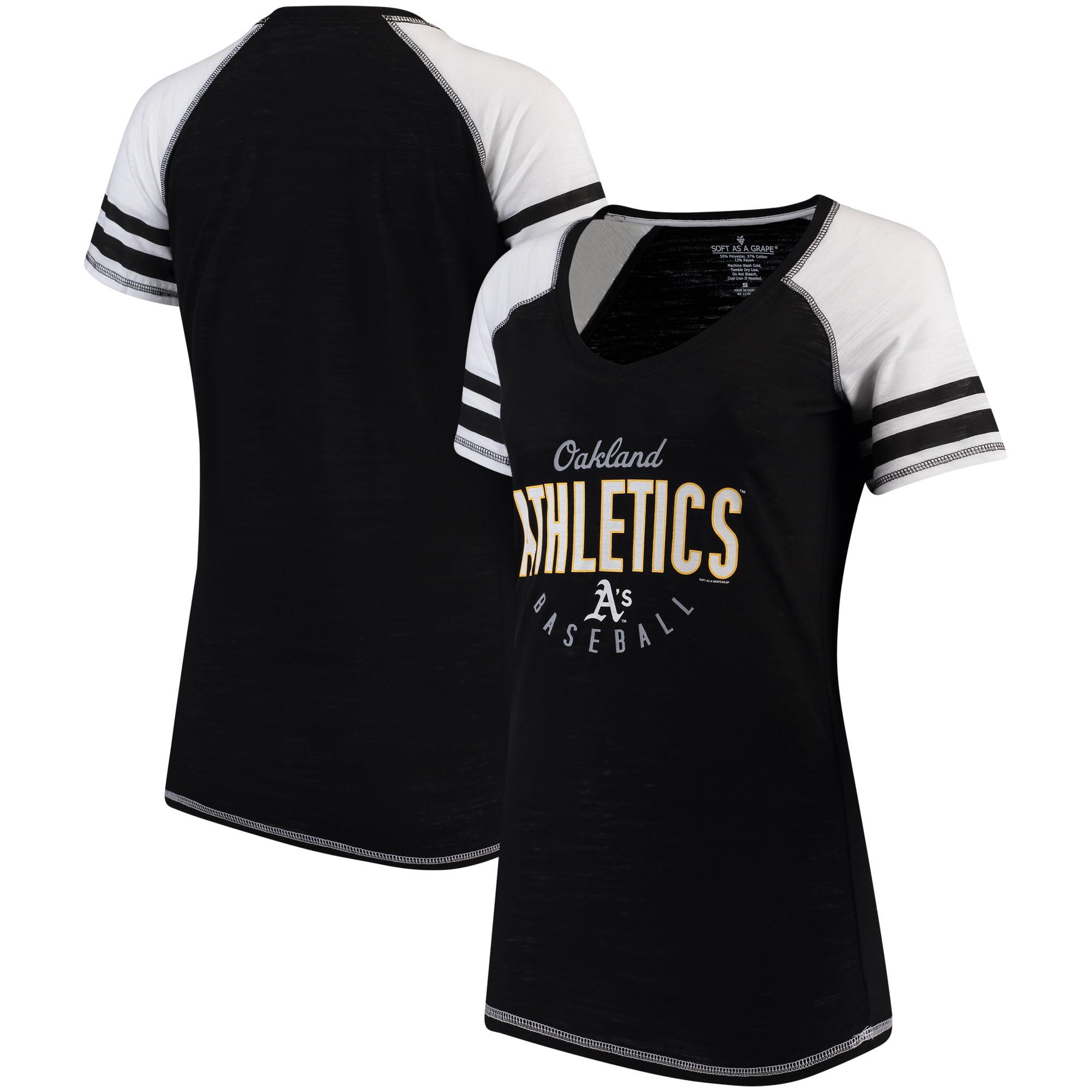 Oakland Athletics Soft As A Grape Women's Down the Line Color Blocked Tri-Blend V-Neck Raglan Sleeve T-Shirt - Black