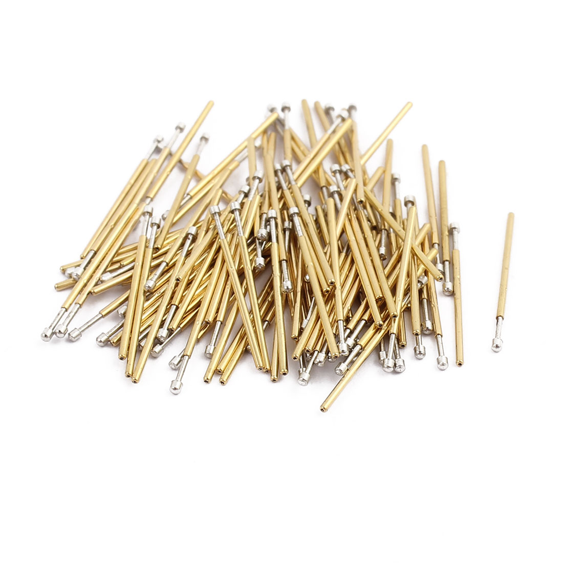 100pcs P50-D2 0.68mm Dia 16.5mm Length Metal Spring Pressure Test Probe Needle