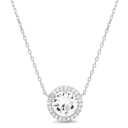 Womens Faceted Crystal White Round Station Halo Chain Necklace in Sterling Silver made with Swarovski Crystals ()