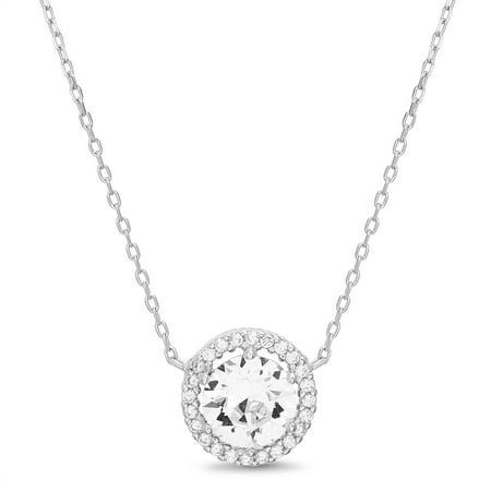 Womens Faceted Crystal White Round Station Halo Chain Necklace in Sterling Silver made with Swarovski Crystals