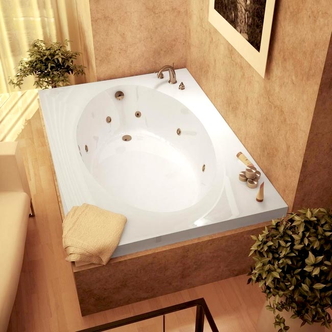 Atlantis Tubs 4384VWR Vogue 43 x 84 x 23 - Inch Rectangular Whirlpool Jetted Bathtub w/ Right Side Pump Placement