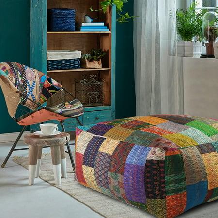 Outstanding Lr Home Patchwork Multi Colored Over Sized Large Huge Kantha Ottoman Pouf Walmart Com Customarchery Wood Chair Design Ideas Customarcherynet