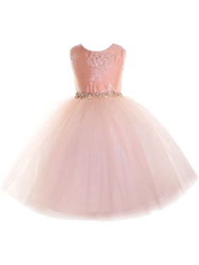 f0fea449a7 Product Image Little Girls Blush Beaded Applique Flower Girl Dress