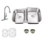 Schon SC867550 Double Basin Undermount Kitchen Sink Set