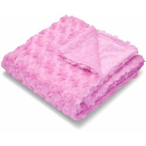 Happy Baby Embossed Micromink Reverse to Rosette Faux Fur Toddler Throw
