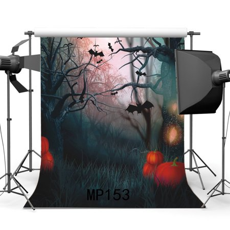 HelloDecor Polyster 5x7ft Happy Hallowmas Backdrop Halloween Horror Night Pumpkin Black Bats Jungle Forest Old Tree Branch Grass Scary Photography Background Kids Adults Masquerade Photo Studio Props](Happy Tree Friends Halloween Horror)