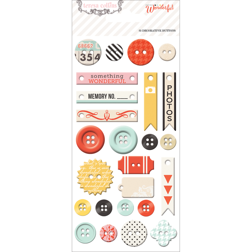 Something Wonderful Decorative Buttons & Chipboard-25 Pieces