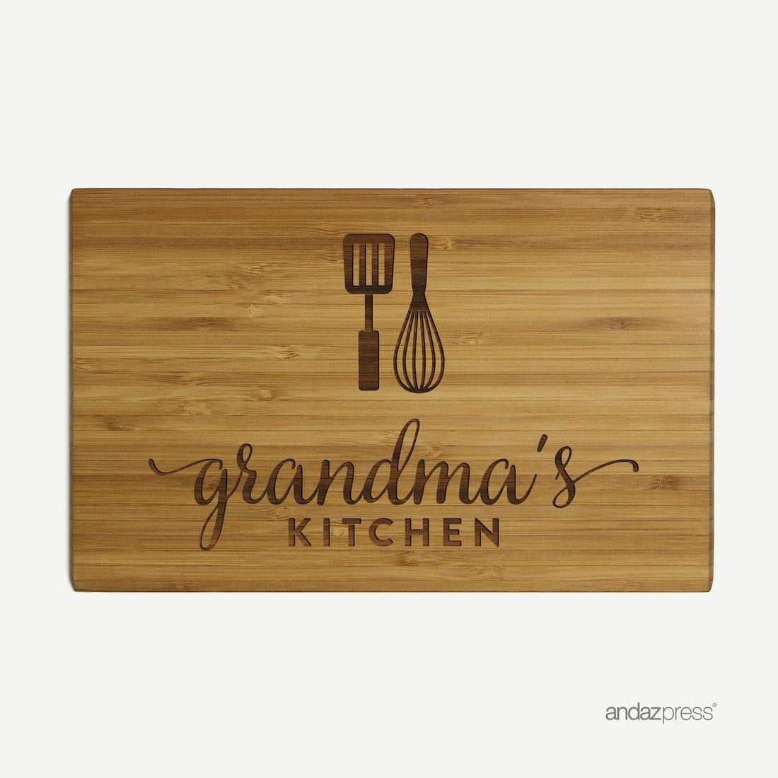 Andaz Press Laser Engraved Small Bamboo Wood Cutting Board, 9.5 x 6-inch, Grandma's Kitchen, 1-Pack by