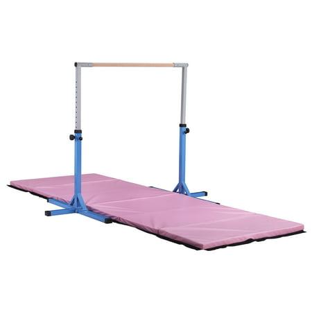 Ainfox Kip Bar Adjustable Height Fitness Gymnastics Training Bar Horizontal Kip Bar for Kids Blue(Gymnastic mat not included) (Nimble Sports Gymnastics Bar)